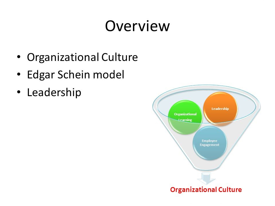 organizational culture schein Edgar henry schein (born march 5, 1928), a former professor at the mit sloan school of management, has made a notable mark on the field of organizational development in many areas, including career development, group process consultation, and organizational culture he is the son of former university of chicago professor marcel schein.